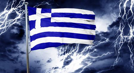 storm cloud: Greece flag, 3D rendering, crisis concept storm cloud