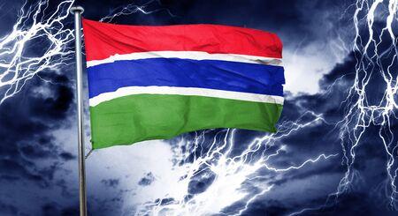 doom: Gambia flag, 3D rendering, crisis concept storm cloud