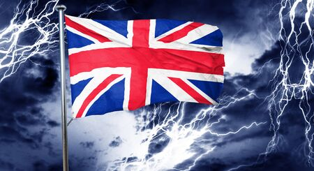 Great britain flag, 3D rendering, crisis concept storm cloud