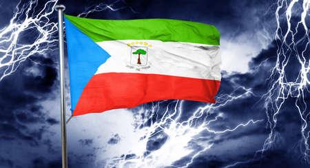 doom: Equatorial guinea flag, 3D rendering, crisis concept storm cloud
