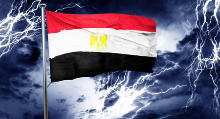 doom: Egypt flag, 3D rendering, crisis concept storm cloud Stock Photo