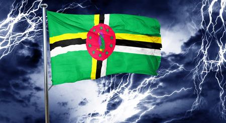 storm cloud: Dominica flag, 3D rendering, crisis concept storm cloud