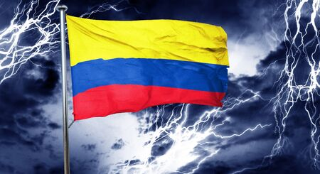 doom: Colombia flag, 3D rendering, crisis concept storm cloud Stock Photo