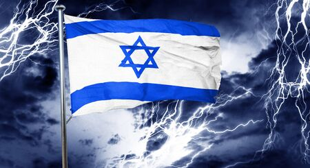 stock market crash: Israel flag, 3D rendering, crisis concept storm cloud