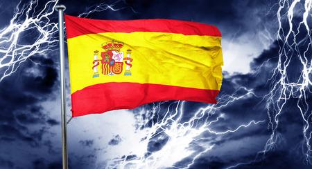 spanish flag: Spanish flag, 3D rendering, crisis concept storm cloud