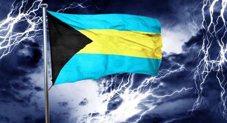 storm cloud: Bahamas flag, 3D rendering, crisis concept storm cloud