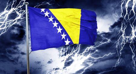 doom: Bosnia and Herzegovina flag, 3D rendering, crisis concept storm cloud