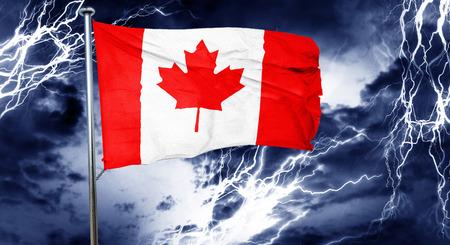 doom: Canada flag, 3D rendering, crisis concept storm cloud Stock Photo