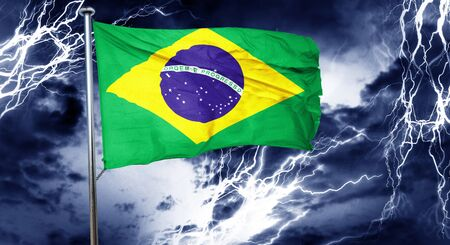 stock market crash: Brasil flag, 3D rendering, crisis concept storm cloud