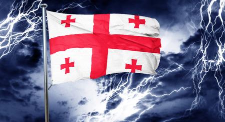 doom: Georgia flag, 3D rendering, crisis concept storm cloud
