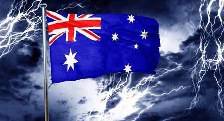australian culture: Australia flag, 3D rendering, crisis concept storm cloud Stock Photo