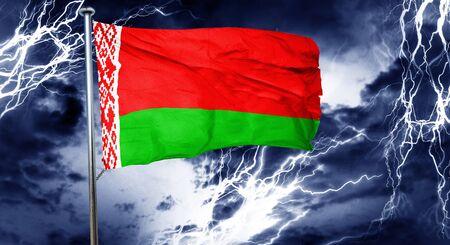 stock market crash: Belarus flag, 3D rendering, crisis concept storm cloud