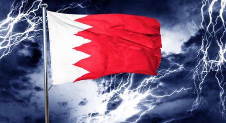 storm cloud: Bahrain flag, 3D rendering, crisis concept storm cloud