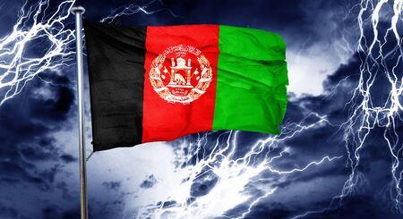storm cloud: Afghanistan flag, 3D rendering, crisis concept storm cloud