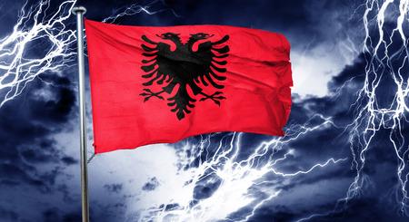 stock market crash: Albania flag, 3D rendering, crisis concept storm cloud Stock Photo