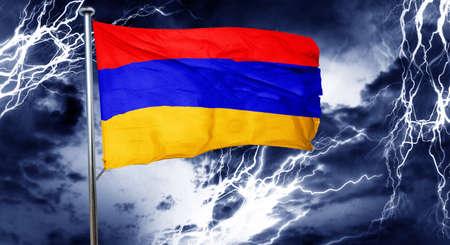 armenian: Armenia flag, 3D rendering, crisis concept storm cloud