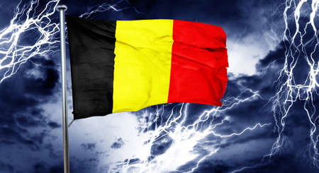 storm cloud: Belgium flag, 3D rendering, crisis concept storm cloud Stock Photo