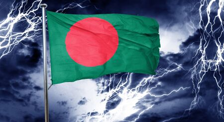 storm cloud: Bangladesh flag, 3D rendering, crisis concept storm cloud Stock Photo
