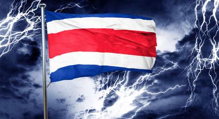 costa rica flag: Costa Rica flag, 3D rendering, crisis concept storm cloud