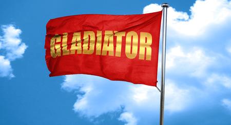 roman empire: gladiator sign roman empire, 3D rendering, waving in the wind