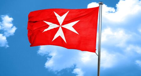 mystique: Malta knights flag with some soft highlights and folds, 3D rendering, waving in the wind