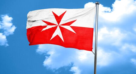 folds: Malta knights flag with some soft highlights and folds, 3D rendering, waving in the wind
