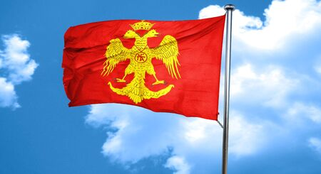 the roman empire: Byzatine eagle flag with some soft highlights and folds, 3D rendering, waving in the wind