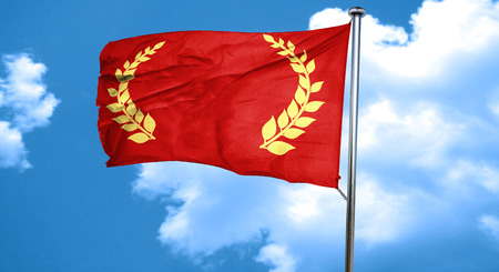 the roman empire: roma with laurel wreath and some soft smooth lines, 3D rendering, waving in the wind
