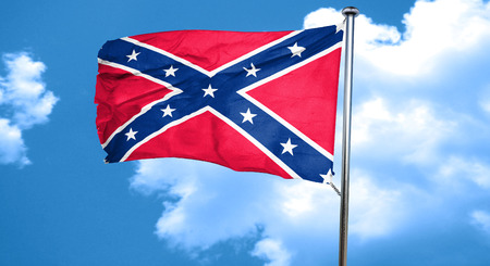 social history: Rebel flag, 3D rendering, waving in the wind