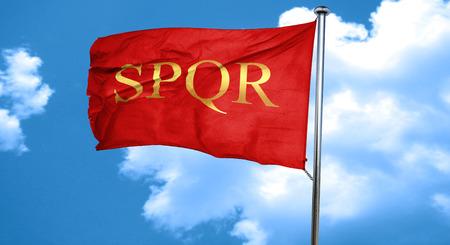 spqr: spqr, 3D rendering, waving in the wind