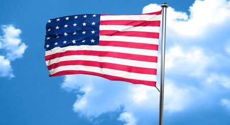 folds: America flag with some soft highlights and folds, 3D rendering, waving in the wind