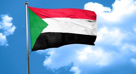 flag Sudan wappert in de wind Stockfoto