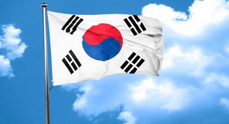 south korea: South korea flag waving in the wind Stock Photo