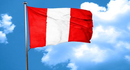 bandera peru: bandera de Per� ondeando en el viento