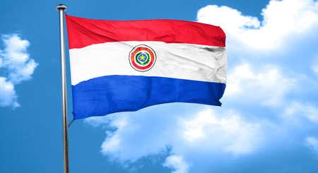 bandera de paraguay: Paraguay bandera ondeando en el viento Foto de archivo