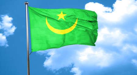 mauritania: Mauritania flag waving in the wind Stock Photo