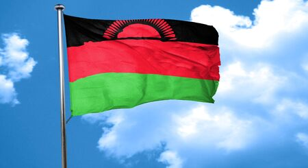 malawi flag: Malawi flag waving in the wind Stock Photo
