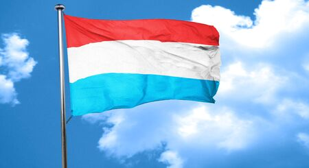 luxembourg: Luxembourg flag waving in the wind Stock Photo