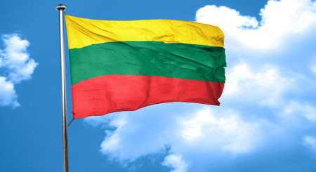 lithuania: Lithuania flag waving in the wind