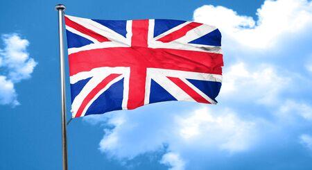 bandera de gran breta�a: Gran bandera de Gran Breta�a ondeando en el viento Foto de archivo