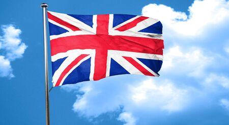 great britain flag: Great britain flag waving in the wind