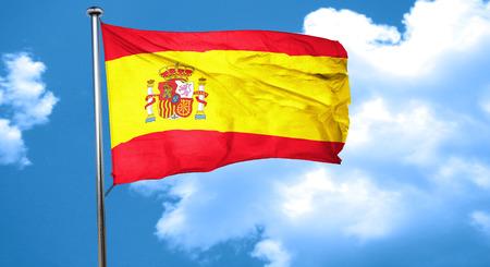 spanish flag: Spanish flag waving in the wind