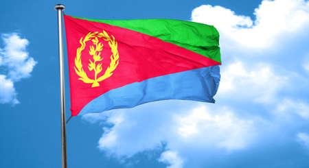 eritrea: Eritrea flag waving in the wind