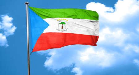 equatorial: Equatorial guinea flag waving in the wind Stock Photo