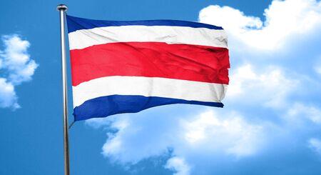 bandera de costa rica: bandera de Costa Rica ondeando en el viento Foto de archivo