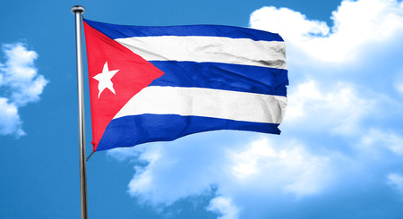 cuba flag: Cuba flag waving in the wind Stock Photo