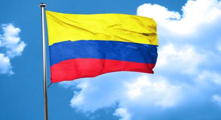 bandera de colombia: bandera de Colombia ondeando en el viento Foto de archivo