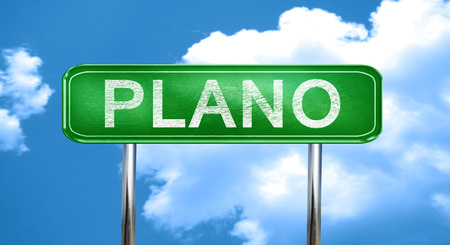 plano: plano city, green road sign on a blue background