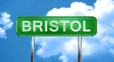 bristol: bristol city, green road sign on a blue background