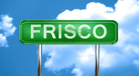 frisco: frisco city, green road sign on a blue background Stock Photo